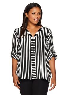 Calvin Klein Women's Mixed Stripe Zip Front Blouse BK/Sft Wt Cmbo Cksp XL