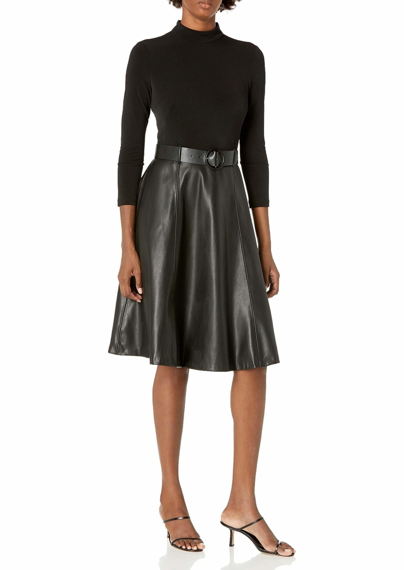Calvin Klein Women's Mock Neck A-Line Dress with Faux Leather Skirt