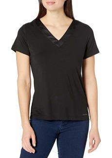 Calvin Klein Women's Modal Satin Lounge & Sleep Short Sleeve V-Neck Shirt