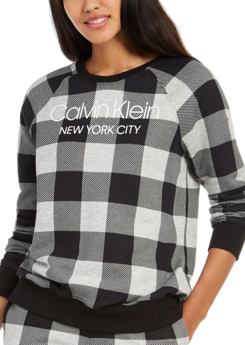 Calvin Klein Women's Modern Cotton Buffalo Check Sleep Sweatshirt