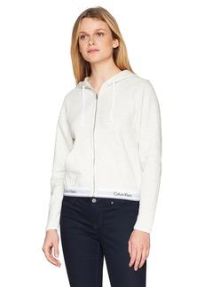 Calvin Klein Women's Modern Cotton Full Zip Hoodie Snow Heather_Neon Neps