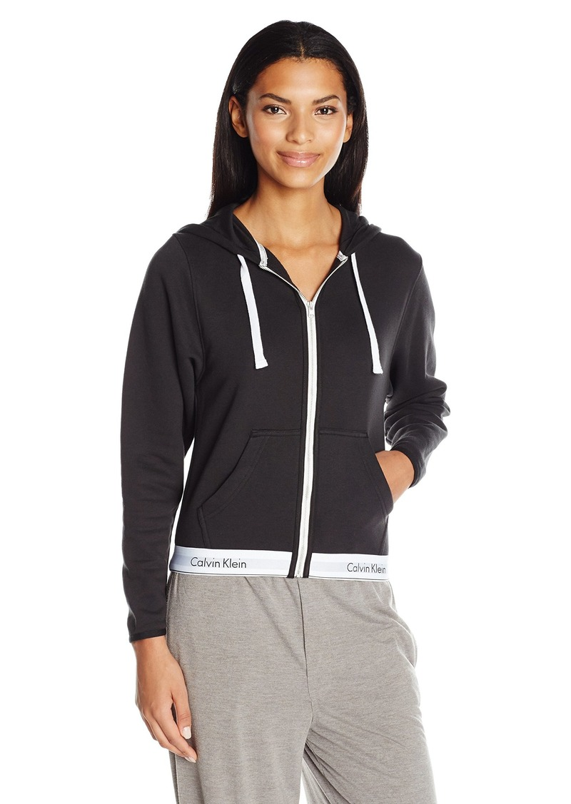 Calvin Klein Women's Modern Cotton Full Zip Hoodie Top