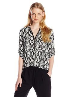 Calvin Klein Women's Modern Essential Printed Zip Front Roll Sleeve