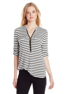Calvin Klein Women's Modern Essential Striped Zip Front Roll Sleeve Blouse Birch/Black X-Small