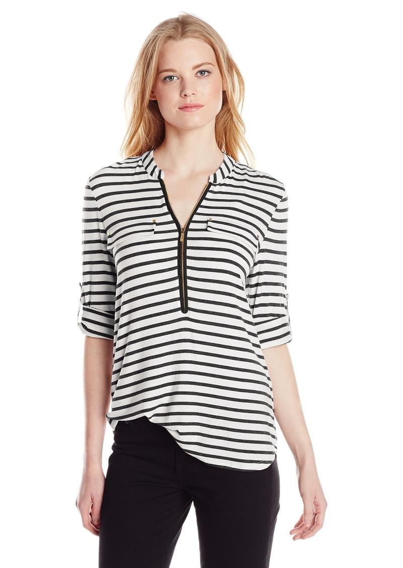 Calvin Klein Women's Modern Essential Striped Zip Front Roll Sleeve Blouse Birch/Black X-Small