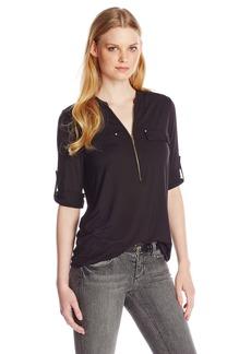 Calvin Klein Women's Modern Essential Zip Front Roll Sleeve Blouse  Large