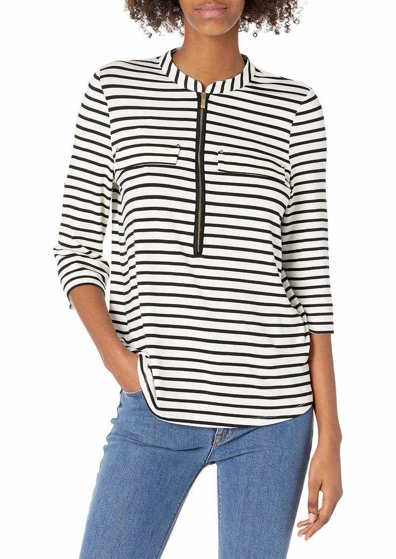 Calvin Klein Women's Modern Essential Zip Front Roll Sleeve Blouse (Standard and Plus)
