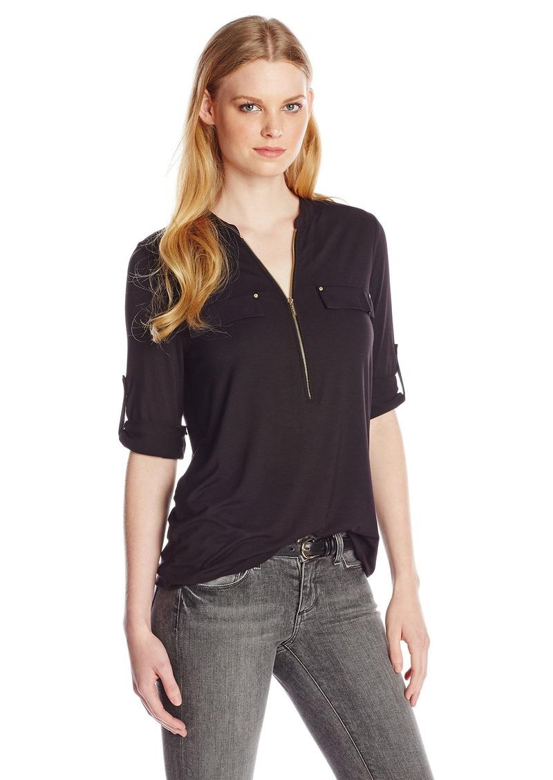 Calvin Klein Women's Modern Essential Zip Front Roll Sleeve Blouse  X-Small