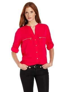 Calvin Klein Women's Modern Essential Zipper Button Front Blouse