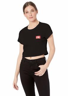 Calvin Klein Women's Monogram Mesh Crew Neck Tshirt  S
