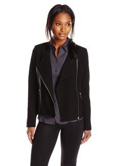 Calvin Klein Women's Moto Jacket with Faux Leather