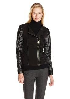 Calvin Klein Women's Moto Jacket with Faux Leather Sleeve