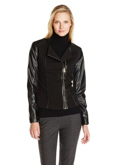 Calvin Klein Women's Moto Jacket with Faux Leather Sleeve