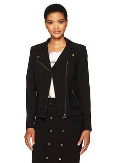 Calvin Klein Women's Moto Jacket with Zip Pockets