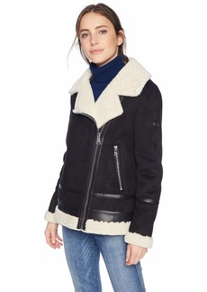 Calvin Klein Women's Moto Style Jacket with Shearling LINGING and PU Trim Detail  XS