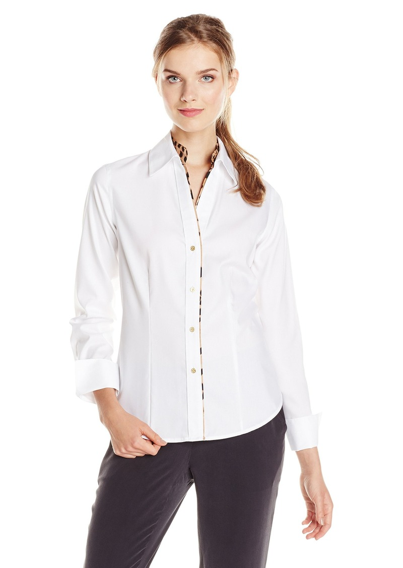 Calvin Klein Women's Oxford Top with Leopard Piping