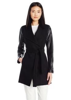 Calvin Klein Women's Trim Sleeve Flyaway Oversized Collar Jacket with Tie Belt  M