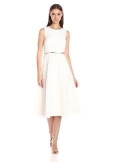 Calvin Klein Women's Novelty Fabric Belted Midi Dress