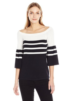 Calvin Klein Women's Off The Shoulder Bell Sleeve Sweater  S