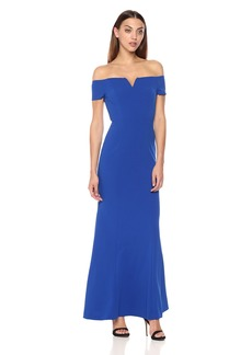 Calvin Klein Women's Off The Shoulder Center Notch Gown