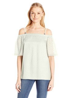 Calvin Klein Women's Off the Shoulder Dot Top  XL
