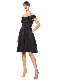 Calvin Klein Women's Off The Shoulder Party Dress with Cross Front Bodice Black