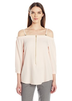 Calvin Klein Women's Off The Shoulder Top with Zipper  M