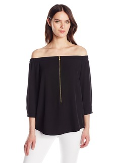 Calvin Klein Women's Off the Shoulder Top with Zipper  XS