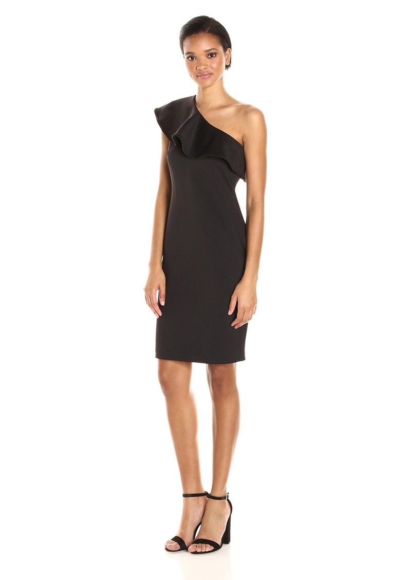 Calvin Klein Women's One Sheath Dress with Dramatic Ruffle Shoulder