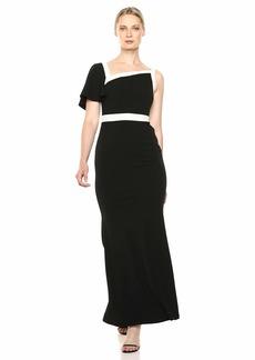 Calvin Klein Women's One Shoulder Gown with Ayssemtric Neckline