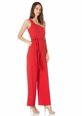 Calvin Klein Women's One Shoulder Jumpsuit with Self Belt