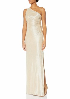 Calvin Klein Women's One Shoulder Ruched Gown