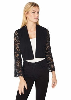 Calvin Klein Women's Open Knit Shrug with Lace Sleeves  M