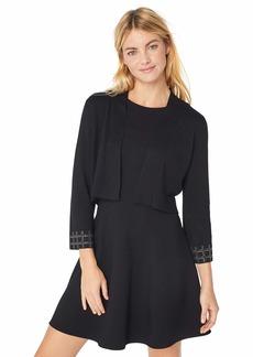 Calvin Klein Women's Open Shrug with Embellished Sleeve Hem