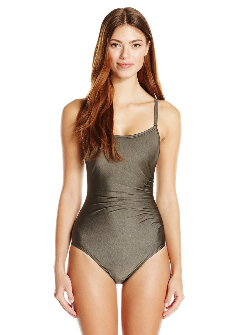 94fa3034781a2 Calvin Klein Women's Over The Shoulder Draped Starburst One Piece Swimsuit  with Removable Soft Cups