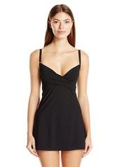 Calvin Klein Women's Over the Shoulder Twist Tummy Control Swim Dress One Piece Swimsuit