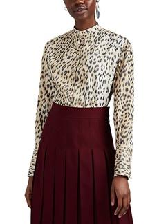 CALVIN KLEIN 205W39NYC Women's Oversized Leopard-Print Silk Faille Blouse