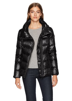 Calvin Klein Women's Pearlized Asymmetrical Zipper Down Jacket  S
