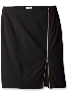 Calvin Klein Women's Pencil Skirt W/ Assymetrical Zip