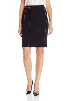 Calvin Klein Women's Pencil Skirt with Faux Leather