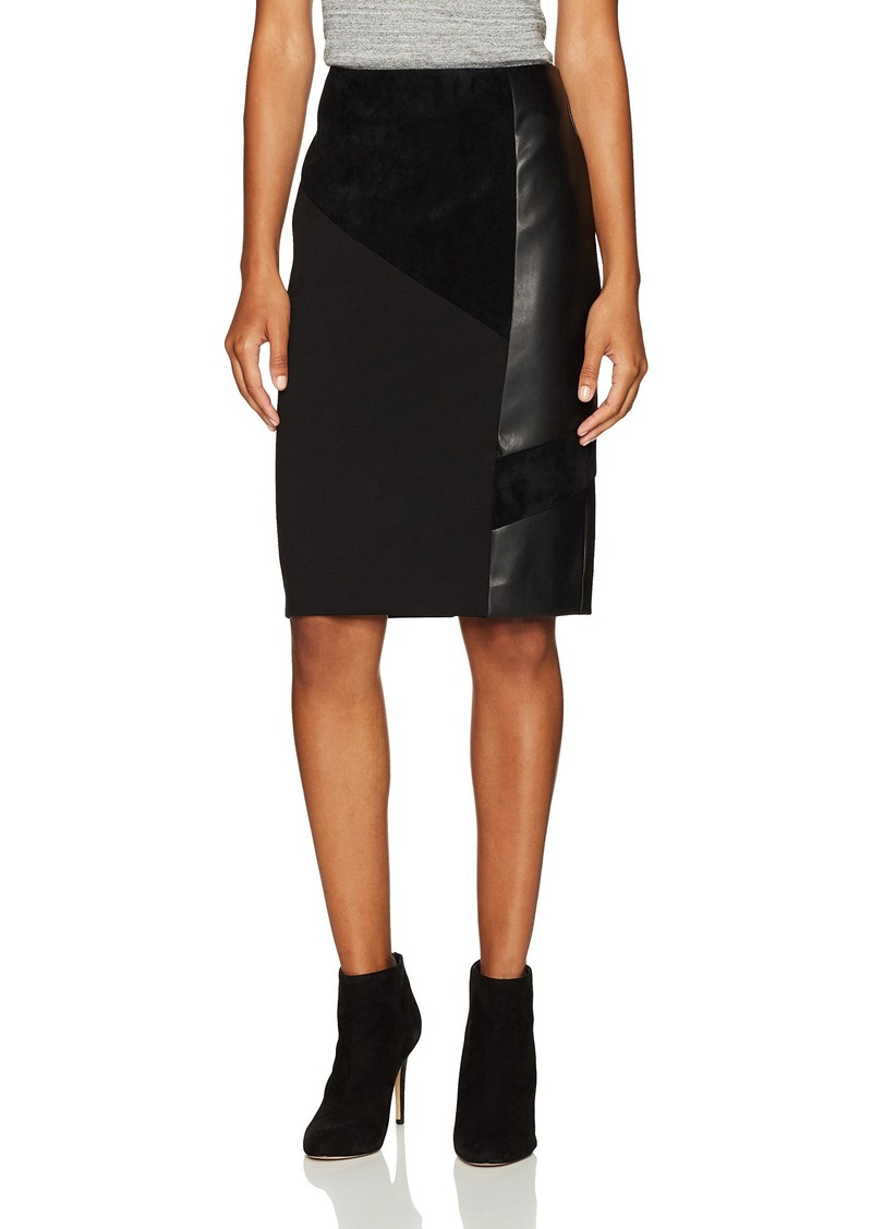 Calvin Klein Women's Pencil Skirt with Suede and Pu