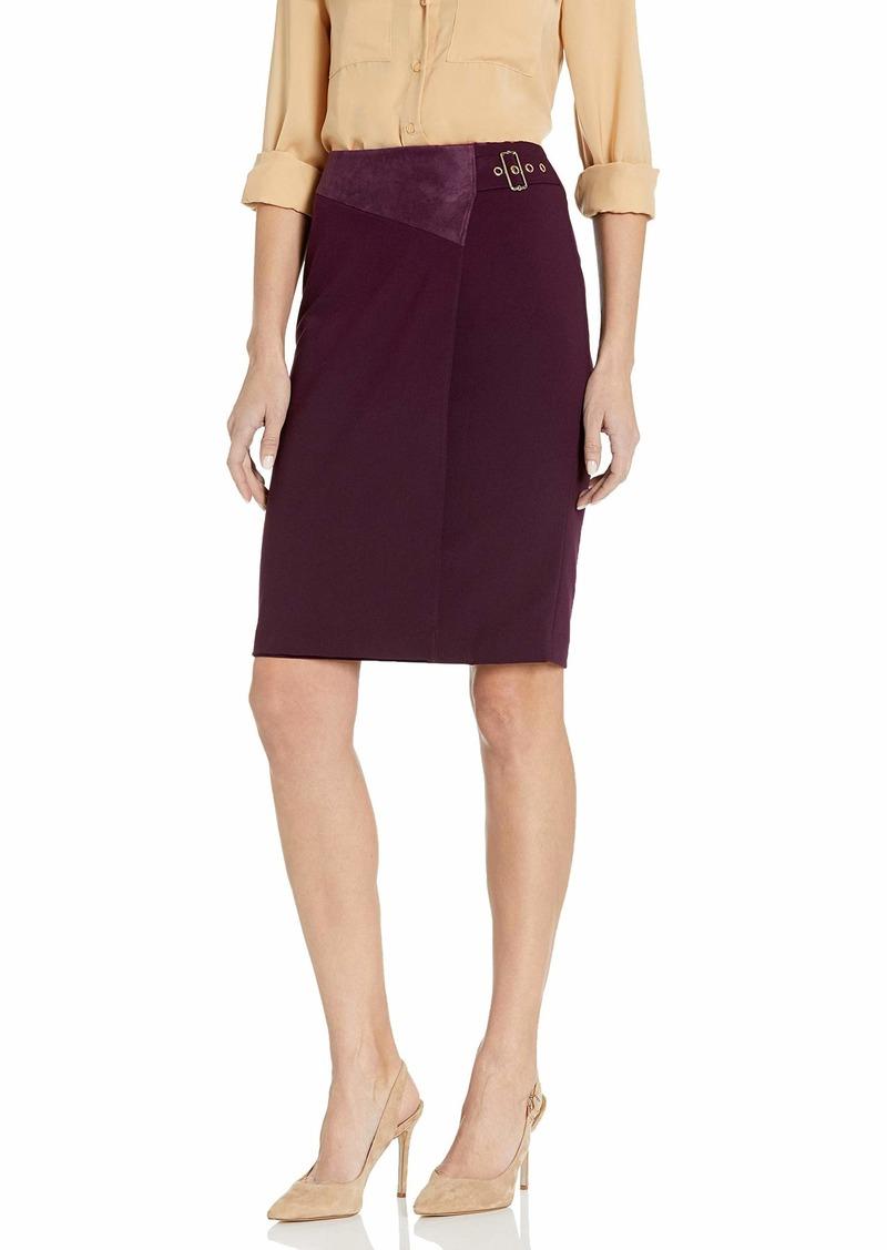Calvin Klein Women's Pencil Skirt with Suede aubergine