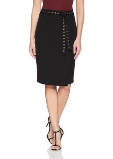 Calvin Klein Women's Pencil Skirt W/Studded Belt