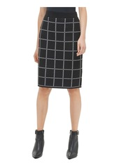Calvin Klein Women's Pencil Sweater Skirt black/white windowpane