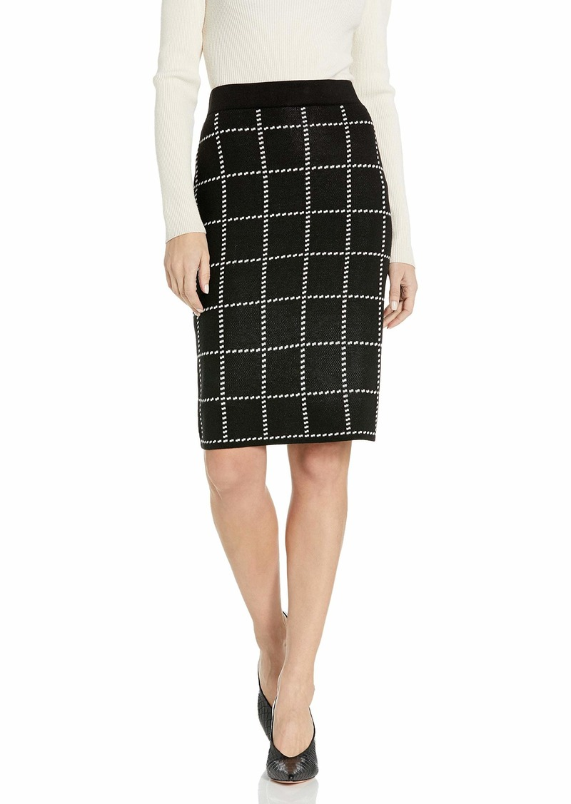 Calvin Klein Women's Pencil Sweater Skirt black/white windowpane