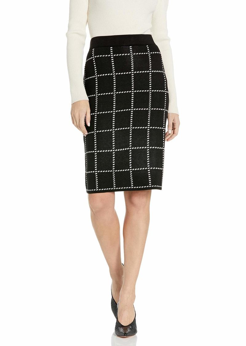 Calvin Klein Women's Pencil Sweater Skirt black/white windowpane S