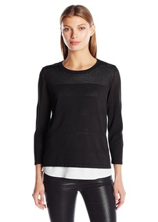 Calvin Klein Women's Perforated Sweater 2-fer  M