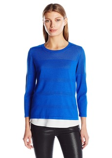 Calvin Klein Women's Perforated Sweater 2-Fer  XL
