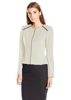Calvin Klein Women's Petite Lux Zipper Jacket W/ Piping  6P