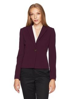 Calvin Klein Women's Petite Scuba Crepe 1 Bttn Jacket  10P